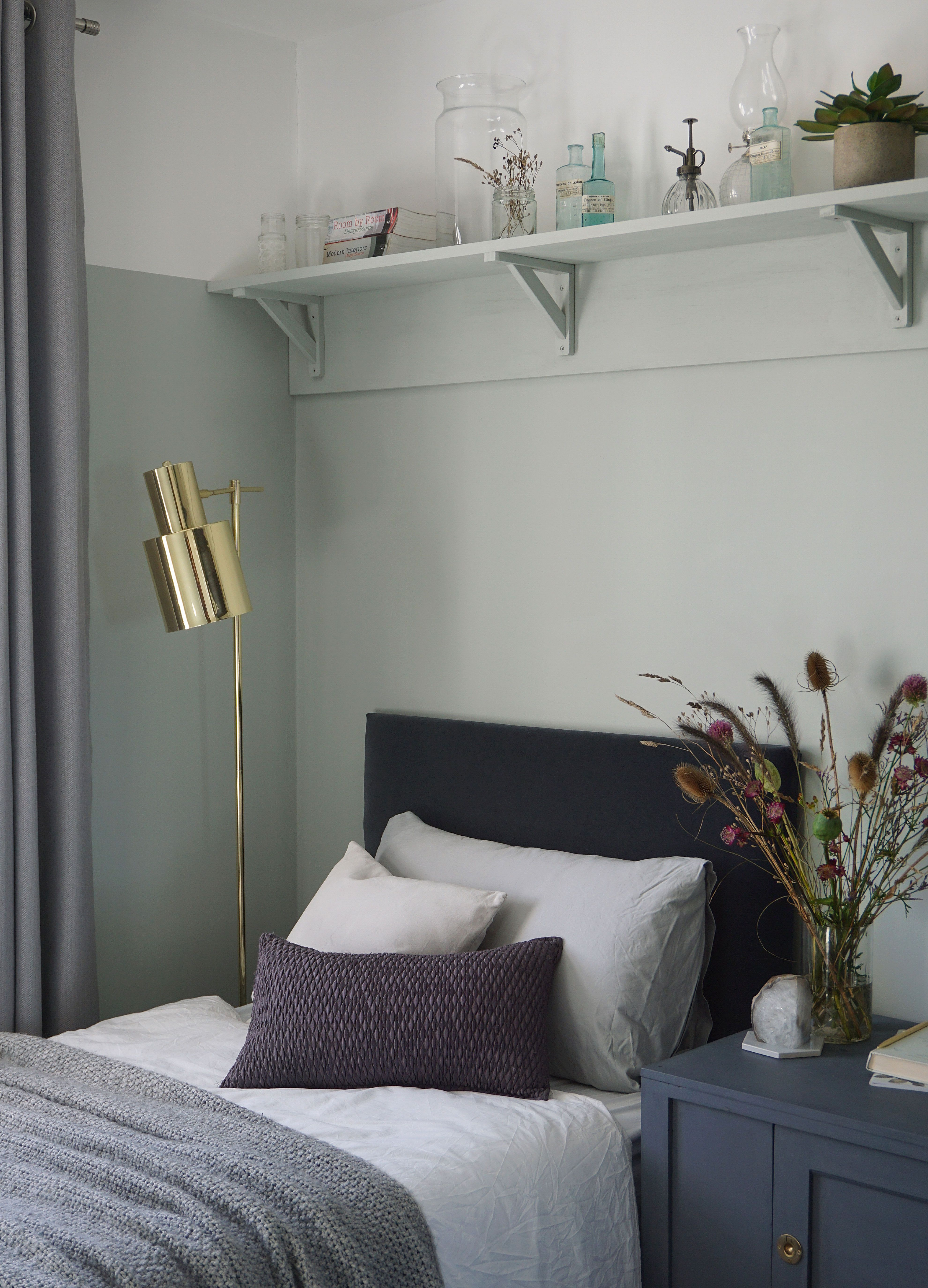 Farrow and Ball light blue bedroom