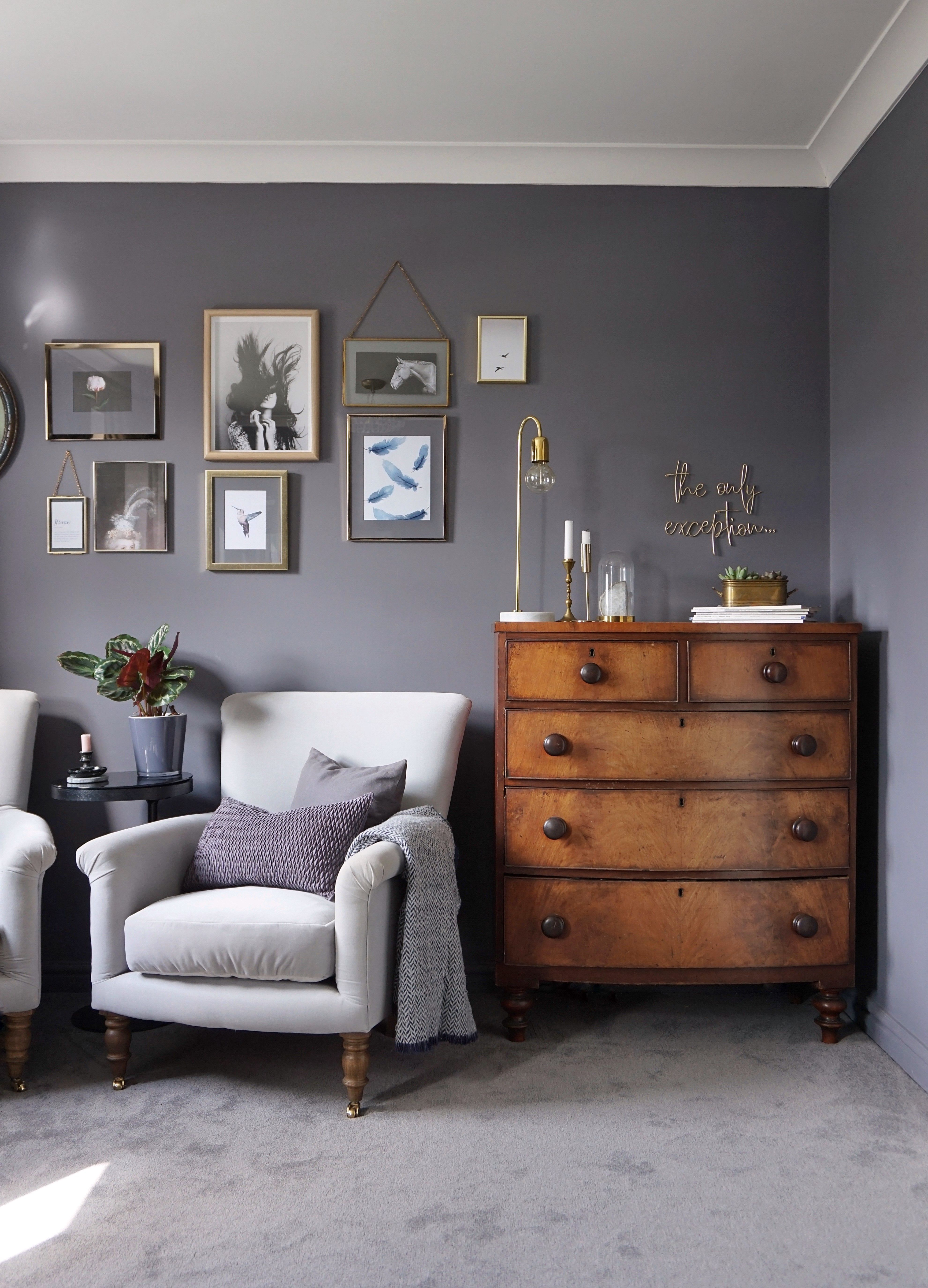 Dark living room vintage chest of drawers sofa.com armchair