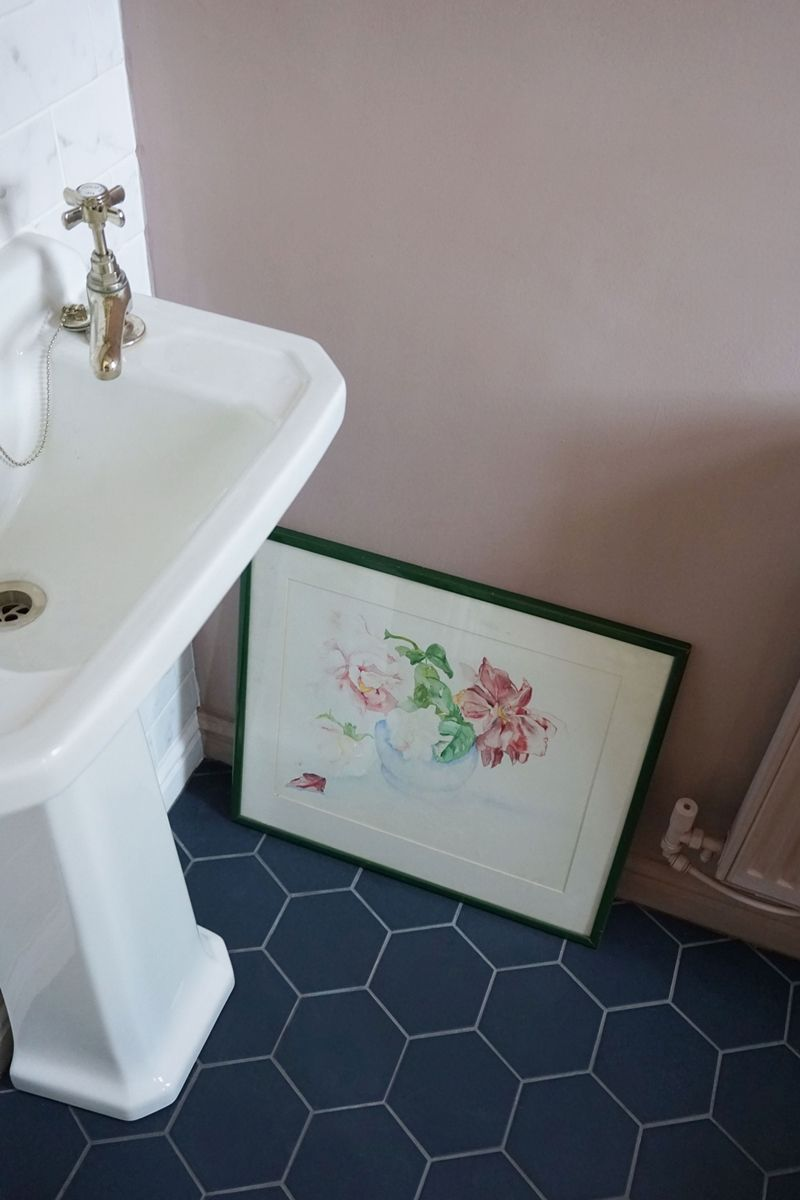 Cloakroom navy hexagon tiles sulking room pink farrow and ball