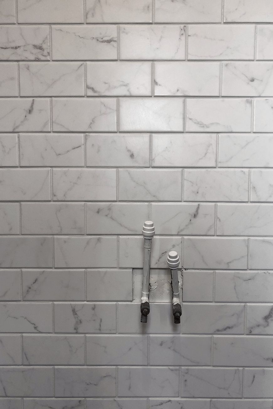 Cloakroom marble wall tiles